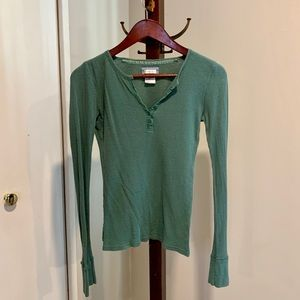 Olive Green Aerie Waffle Henley